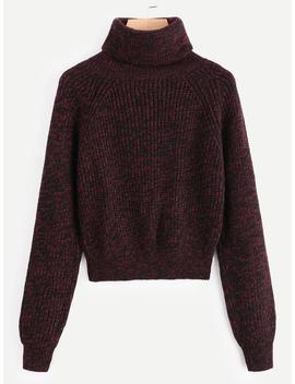 Rolled Neck Longline Sleeve Sweater by Romwe