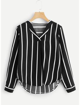 V Neck Striped Asymmetrical Top by Romwe