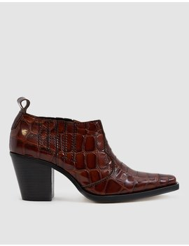 Nola Croc Effect Ankle Boot by Ganni
