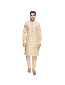 Shatranj Men's Indian Ethnic Embroidered Placket 2 Pcs Textured Suit Set by Shatranj