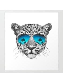 Portrait Of Leopard With Mirror Sunglasses. Art Print by