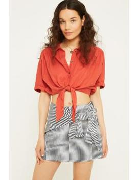 Uo Alexa Tie Front Stripe Mini Skirt by Urban Outfitters