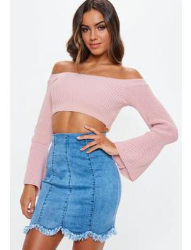 Petite Pink Bardot Cropped Knitted Top by Missguided