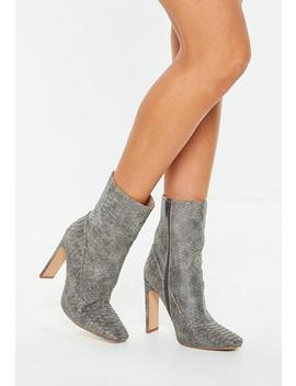 Grey Python Square Toe Sock Boots by Missguided