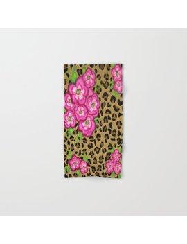 Floral Leopard Print Hand & Bath Towel by