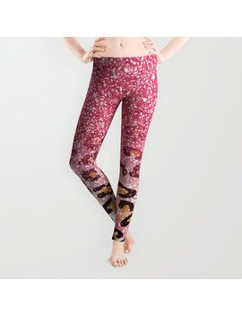 Cute Girly Trendy Bubble Gum Pink Faux Glitter Leopard Animal Print Pattern Leggings by