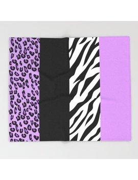Animal Print, Zebra Stripes, Leopard Spots   Purple Throw Blanket by