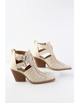 Quilla Beige Woven Cutout Ankle Booties by Lulu's