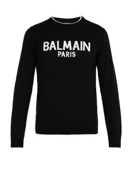Logo Print Wool Sweater by Balmain