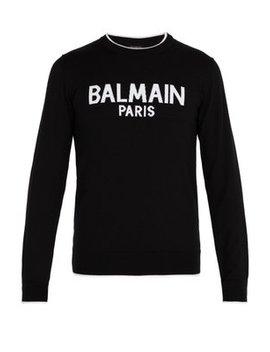 Logo Print Wool Sweater by Balmain