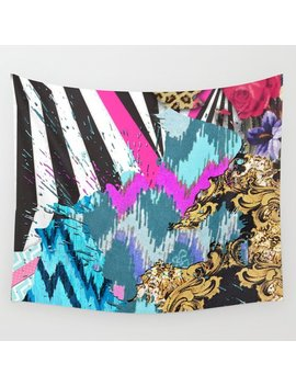 Fashion | Chic Aztec Pink Teal Zebra Stripes Leopard Pattern Wall Tapestry by