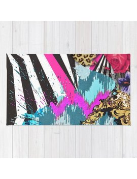 Fashion | Chic Aztec Pink Teal Zebra Stripes Leopard Pattern Rug by