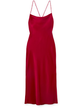 Open Back Satin Crepe Midi Dress by Jason Wu