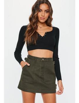 Khaki Combat Denim Mini Skirt by Missguided