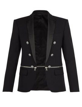 Zipped Panel Cotton Blazer by Balmain