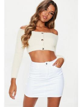 White Denim 5 Pocket Superstretch Denim Mini Skirt by Missguided
