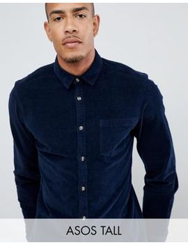 Asos Design Tall Slim Fit Stretch Cord Shirt In Navy by Asos Design