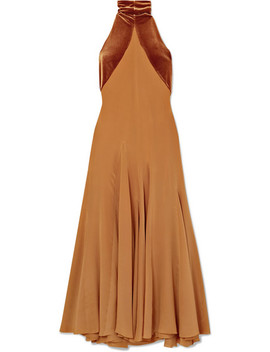 Asymmetric Silk Crepe De Chine And Velvet Maxi Dress by Haider Ackermann