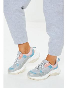 Grey Minimal Upper Chunky Trainers by Missguided