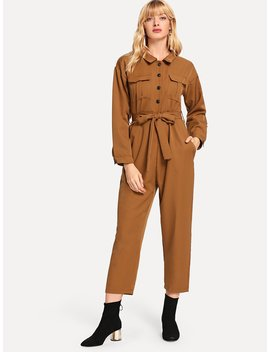 Solid Single Breasted Belted Jumpsuit by Romwe