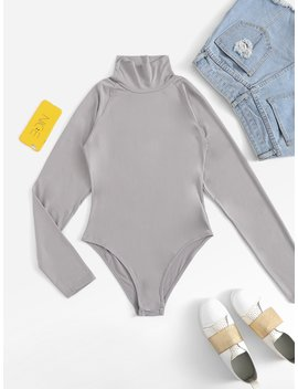 Mock Neck Raglan Sleeve Bodysuit by Romwe