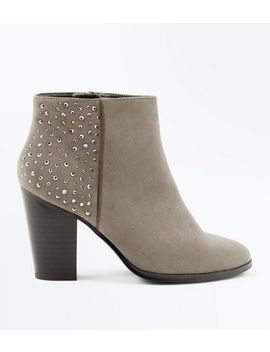 Wide Fit Light Brown Gem Embellished Heeled Boots by New Look