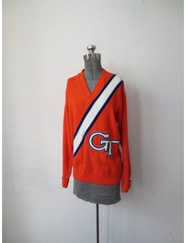 Vintage '70s/'80s Bright Orange Men's Varsity Cheerleading Sweater, M by Etsy