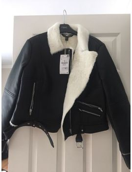 Zara Ladies Faux Leather Aviator Faux Fur Lined Jacket Bnwt Size Large Sold Out by Ebay Seller