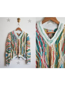Authentic Coogi 80's Vintage Sweater Medium, Vintage White Rainbow Cotton Coogi Sweater. Vintage Unisex 80s Sweater by Etsy