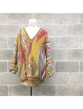 Vintage Coogi Sweater Retro Unisex Size Xl Multi Color Long Sleeve V Neck Wool Oversized Pullover Made In Australia Fall Fashion by Etsy