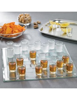 Jay Import Crystal Clear Shot Glass Checkers Bar Game Set by Jay Import