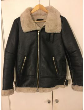 Zara Women's Leather Aviator Faux Fur Jacket Size M, Blsck And Cream by Ebay Seller