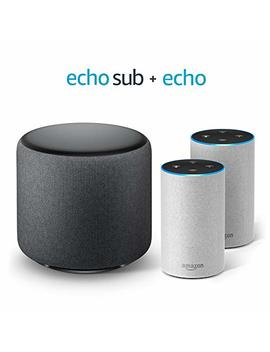 Echo Sub Bundle With 2 Echo (2nd Gen) Devices   Sandstone Fabric by Amazon