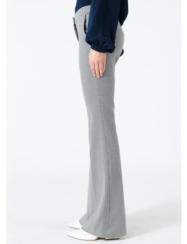 Hudson Check Slim Bootcut Pants by Tibi