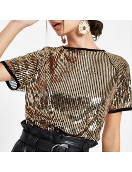 Gold Sequin Embellished T Shirt by River Island
