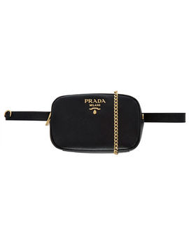 Black Leather Bumbag by Prada