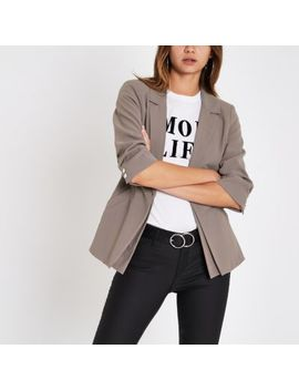 Grey Double Layer Ruched Sleeve Blazer by River Island