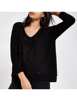 Black Hacci Pearl Embellished Jumper by River Island