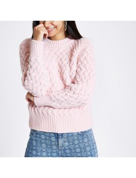 Pink Cable Knit Jumper by River Island