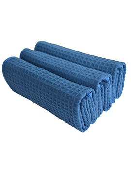 Sinland Microfiber Waffle Weave Kitchen Towels Dish Cloth 3 Pack 16inch X 24inch Navy Blue by Sinland