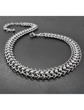 Stainless Steel Centipede Chain Choker Collar Necklace   Chainmaille by Etsy