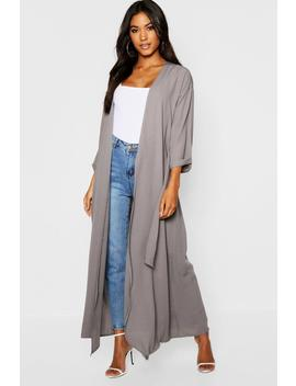 Textured Woven Belted Maxi Kimono by Boohoo