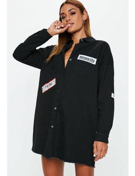 Black Badge Oversized Shirt Dress by Missguided