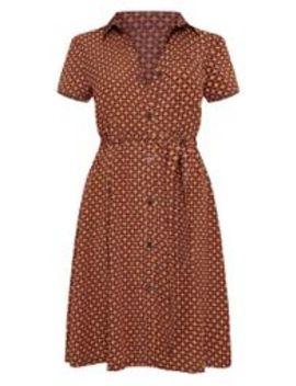 Rust Tile Print Belted Skater Shirt Dress by Prettylittlething