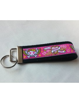 Key Fob, Keychain, Wristlet, Keyfob Black Webbing With Hot Pink Ribbon Featuring Skulls by Etsy