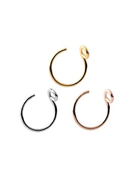 Abozy Steel Faux Clip On Earrings Nose Hoop Ring Body Jewelry Piercing Unisex 20 Gauge 8mm (3 Pcs) by Abozy
