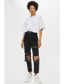 Washed Black Slash Ripped Mom Jeans by Topshop