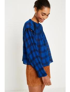 Free People Honey Grove Blue Checked Top by Free People