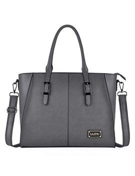 Iaitu Laptop Bag, Large Capacity Women Tote Bag Briefcase With Padded Compartment For 15.6 Inch Tablet/Mac Book/Ultra Book (Gray) by Iaitu
