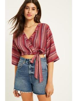 Uo Kimmy Pink Stripe Wrap Crop Top by Urban Outfitters
